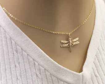 24k Gold or Silver Dragonfly Necklace Jewelry Gifts For Women and Girls, Comes With Your Choice of Sterling Silver or Gold Filled Chain
