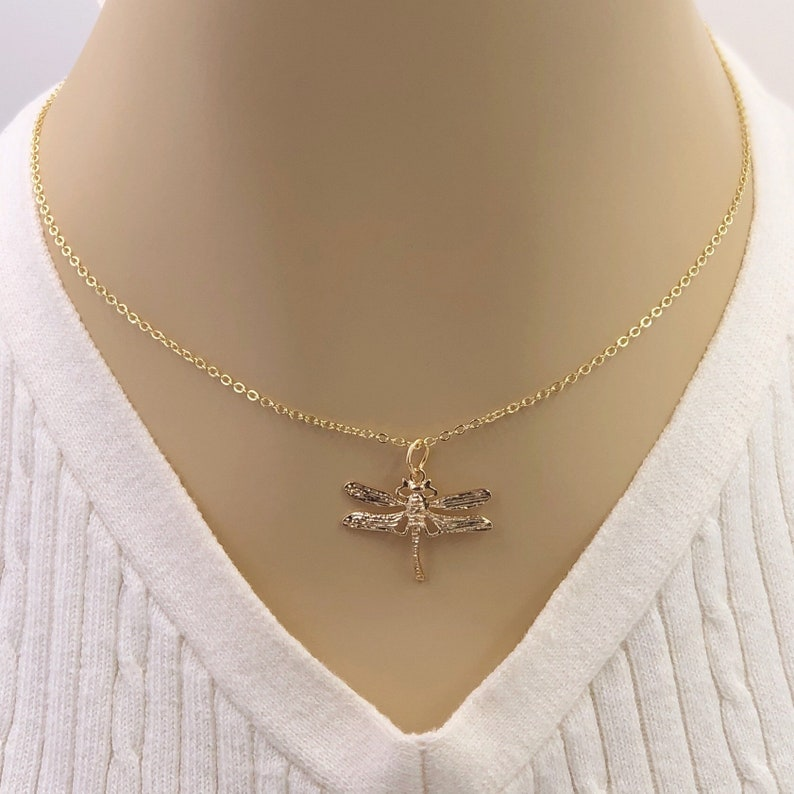 Comes With Your Choice of Sterling Silver or Gold Filled Chain 24k Gold or Silver Dragonfly Necklace Jewelry Gifts For Women and Girls