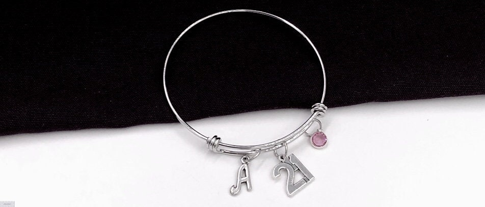 21st Birthday Bangle Bracelet Gifts For Women Gift Personalized Initial Birthstone Charm