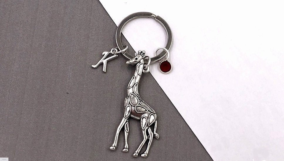 Personalized Giraffe Gifts, Silver Giraffe Keychain Jewelry for Women and Girls, Sterling Silver Birthstone and Initial Included