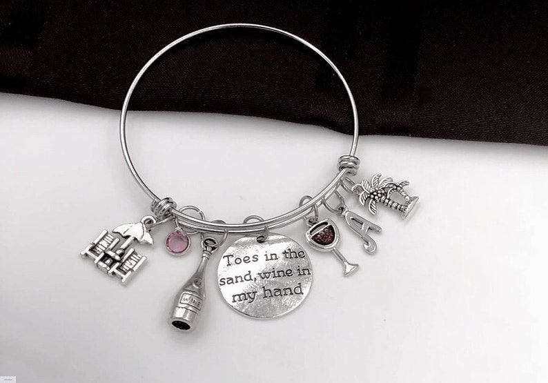 Toes in the Sand Wine in my Hand Bracelet Vacation Jewelry Gift Women/'s Red Wine Glass Personalized Bracelet Silver Birthstone Bracelet