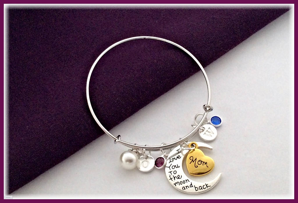 Mom Bracelet Mothers Personalized Birthstone Bracelet Silver Love