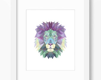 Lion Print Art Wall Geometric Origami Face Triangle