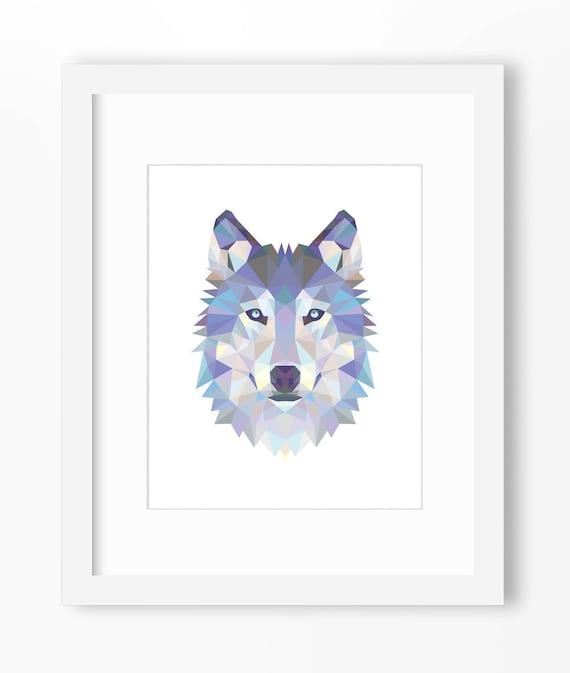 Wolf Print Wolf Art Wolf Wall Art Geometric Wolf Print