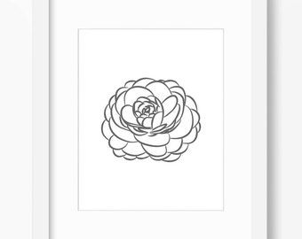 Peony Print, Flower Print, Peony Art, Flower Art, Graphic Peony, Peony Drawing, Peony Illustration, Flower Illustration, Flower Drawing