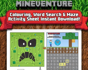 Mineventure Activity Sheet - Instant Download - Maze, Word Search, Coloring