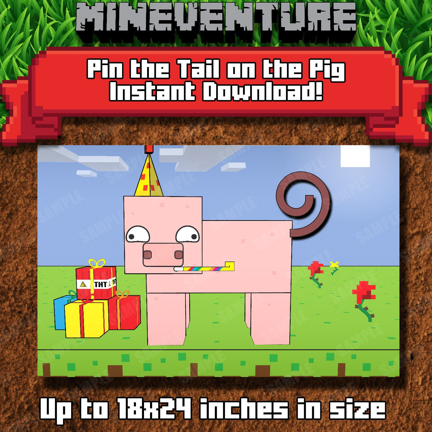 Mineventure Pin the tail on the Pig v20   Printable Party Game   Instant  Download