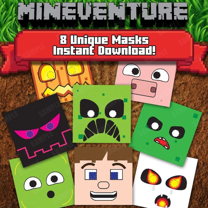 photograph about Minecraft Masks Printable known as Mineventure Printable Masks - Prompt Down load - 8 Masks
