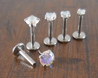 16g 2-4mm Tragus 6mm-8mm AB Crystal Rainbow Stone Threadless Push Pin Labret Triple Helix Nose Ring Cartilage Earrings Stainless Prong Set