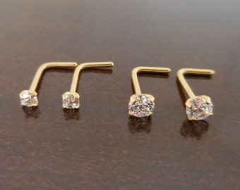 Pair 2mm or 3mm Prong Set Screws Rings Bones Nose Piercing L Shape Stainless Steel Gold Tone Free Shipping Comfortable Jewelry 20G or 18G