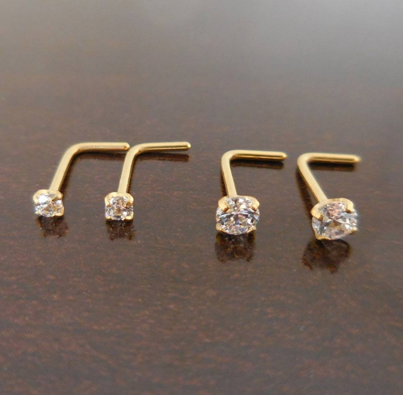 Pair 2mm or 3mm Prong Set Screws Rings Bones Nose Piercing L image 0