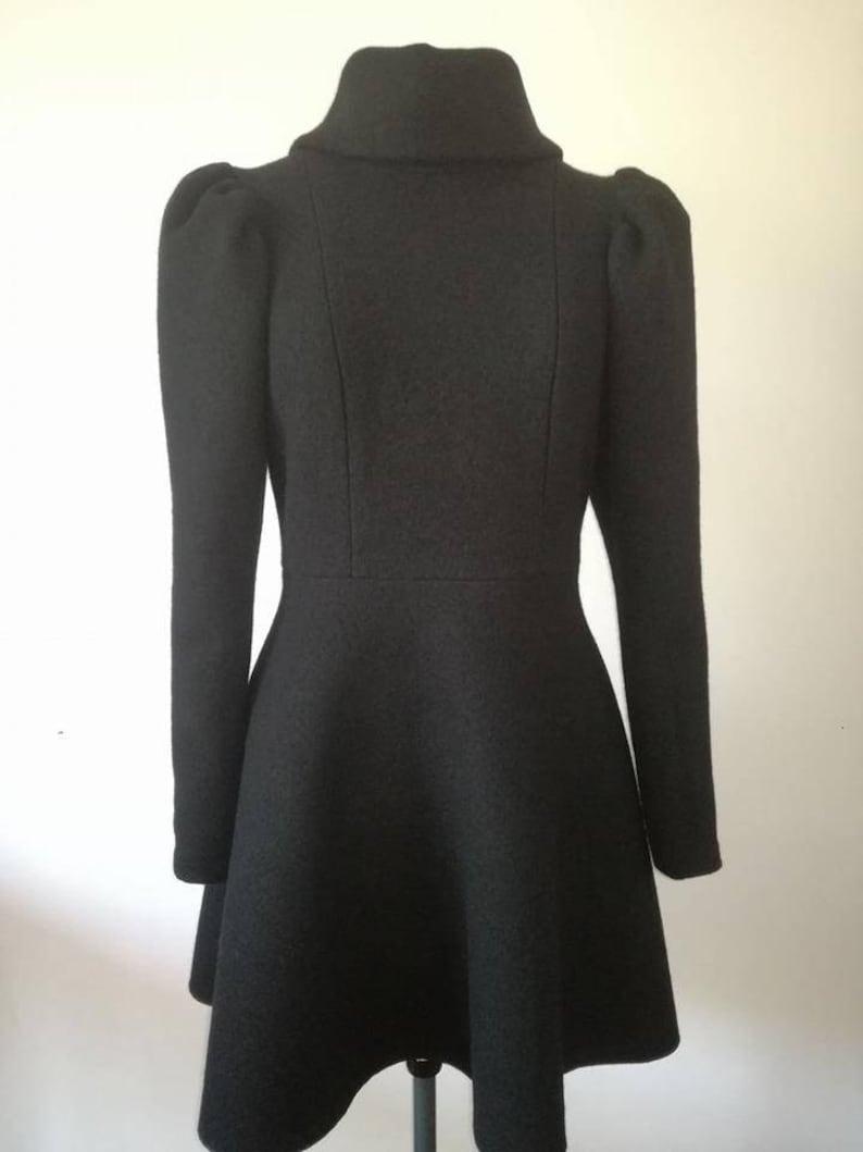 05c2c38071 Vestito da donna in lana cotta nera con collo alto e maniche lunghe Vestito  invernale Vestito nero Abito in lana Abito corto Gonna in lana