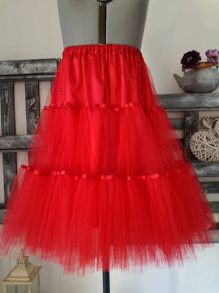 Woman petticoat in red tulle petticoat tulle bride Pin up rockabilly dress skirt bride in tulle tulle skirt years 50 tulle skirt