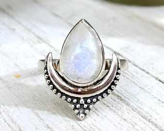 Rainbow Moonstone Statement Ring Set in Sterling Silver / Curated by FOXLARK Collection