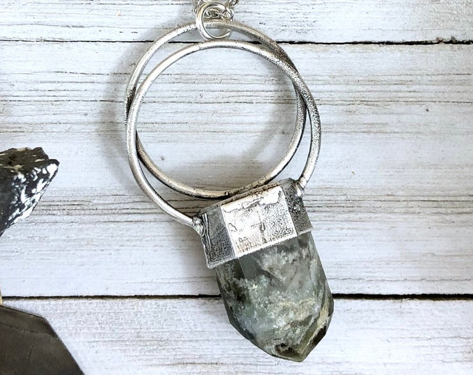Garden Quartz Crystal Necklace in Silver