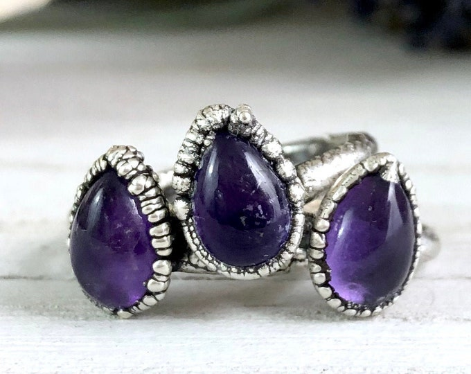 Silver Stacking Rings / Amethyst Ring Dainty Crystal Ring Size 6 7 8 9