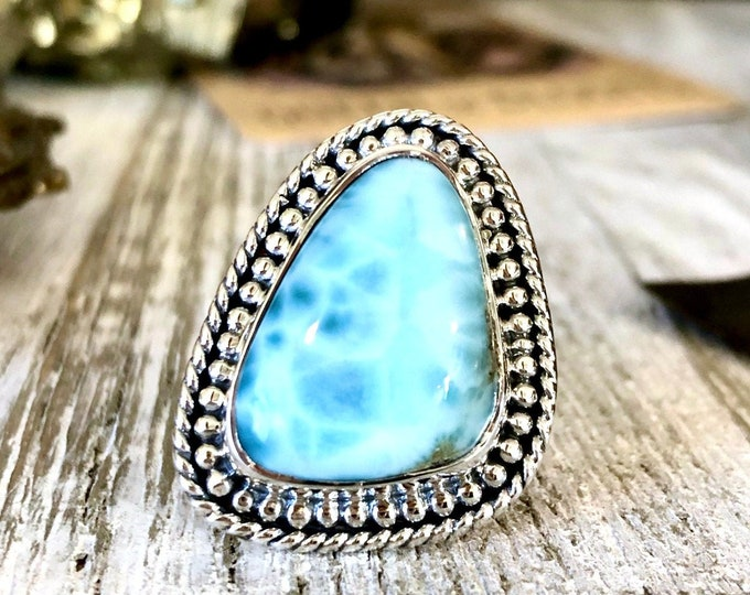 Size 7 Larimar Statement Ring Set in Sterling Silver / Curated by FOXLARK Collection