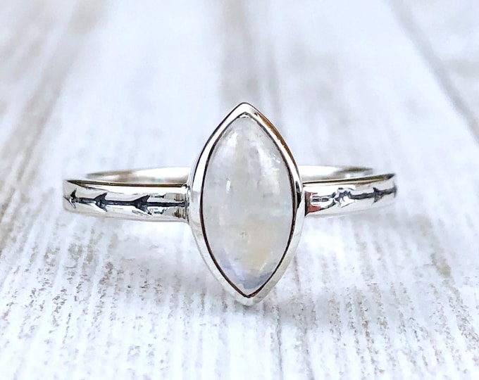 Dainty Rainbow Moonstone Ring Set in Sterling Silver / Curated by FOXLARK Collection