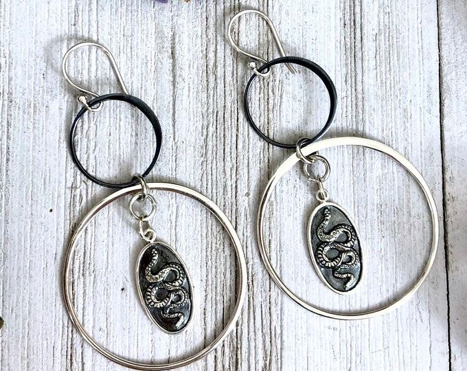 Sterling Silver Long Dangly Snake Earrings with Silver & Blackened Silver Hoops