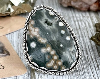 Size 7.5 Ocean Jasper Statement Ring Set in Sterling Silver  / Curated by FOXLARK Collection