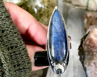Magic Moons Labradorite Ring in Solid Sterling Silver- Designed by FOXLARK Collection Size 6 7 8 9 10