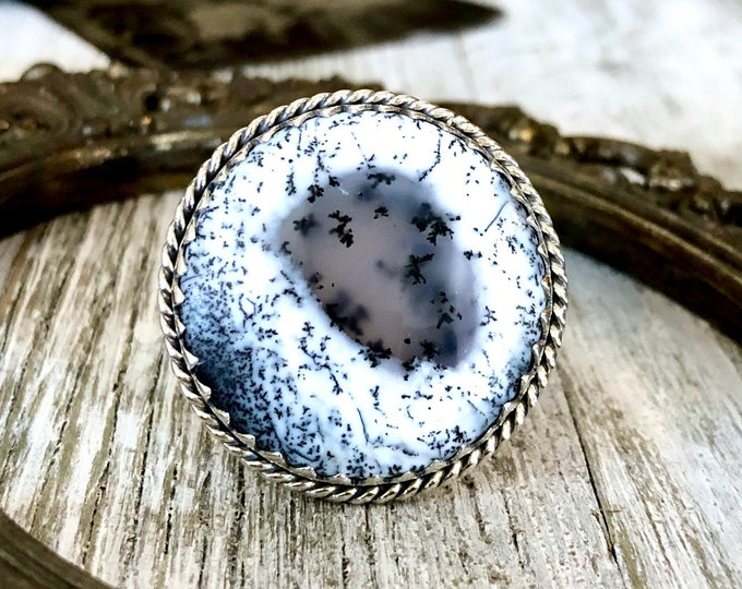 Size 10 Dendritic Opal Statement Ring Set in Sterling Silver / Curated by FOXLARK Collection