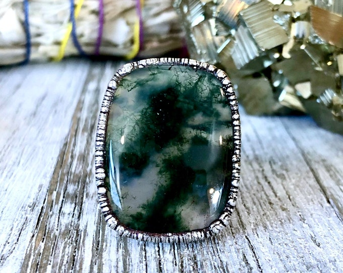 Size 7 Silver Natural Moss Agate Ring Large / Crystal Ring Big Silver Ring