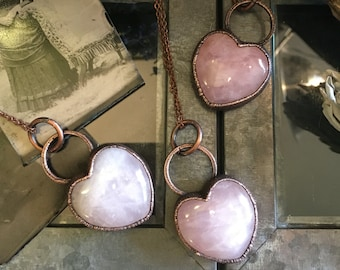 Rose Quartz Crystal Necklace / Crystal Heart Jewelry Pink Stone Necklace Pendant