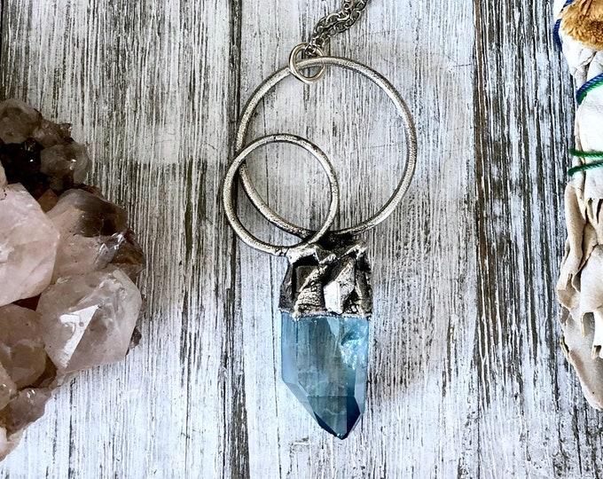 Big Raw Crystal Necklace / Aqua Aura Quartz Necklace in fine Silver / Crystal Necklace for Women / Blue Crystal Jewelry / Statement Necklace