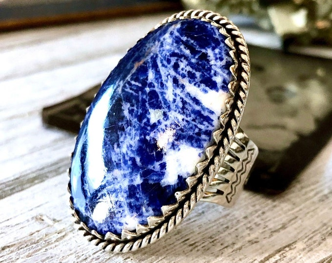 Size 9 Sodalite Statement Ring Set in Sterling Silver / Curated by FOXLARK Collection