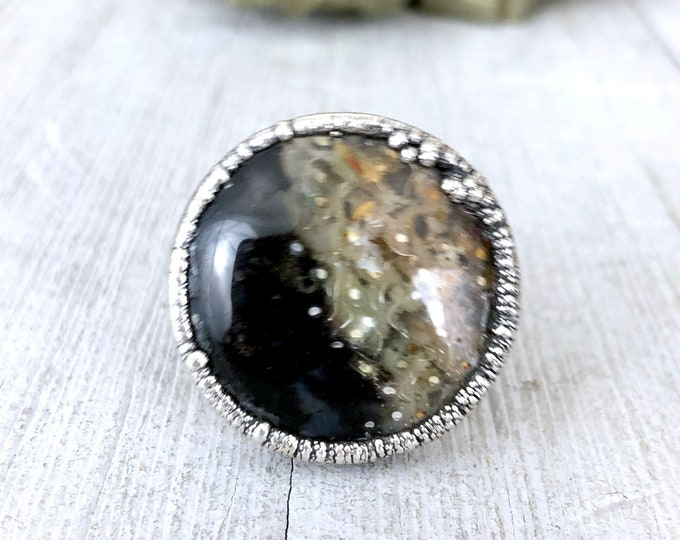 Silver Statement Ring Size 10 Round Fossilized Palm Root Ring