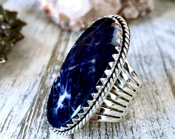 Size 7.5 Sodalite Statement Ring Set in Sterling Silver / Curated by FOXLARK Collection
