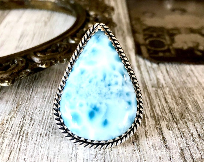 Size 6 Larimar Statement Ring Set in Sterling Silver / Curated by FOXLARK Collection