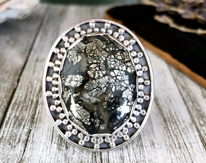 Size 9 Marcasite in Agate Statement Ring Set in Sterling Silver  / Curated by FOXLARK Collection