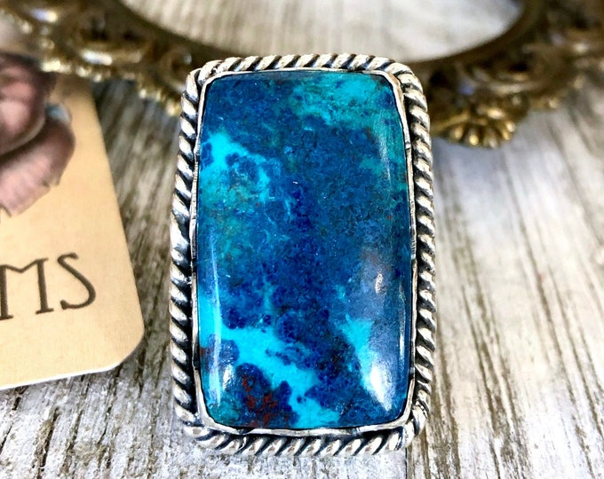 Size 6 Sterling Silver Chrysocolla Statement Ring  / Curated by FOXLARK Collection