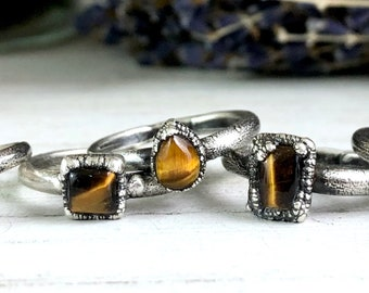 Silver Stacking Rings / Tiger Eye Ring Dainty Crystal Ring Size 6 7 8 9