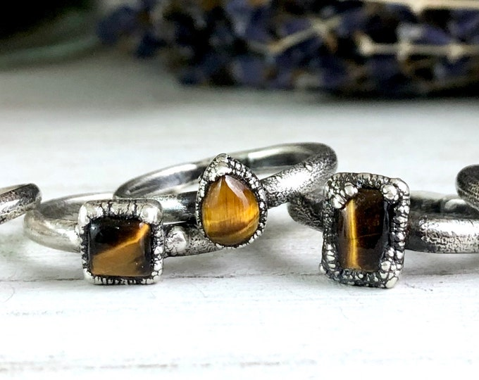 Silver Stacking Rings / Tiger Eye Ring Dainty Crystal Ring Size 6 7 8 9