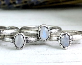 Silver Stacking Rings / Rainbow Moonstone Ring Dainty Crystal Ring Size 6 7 8 9