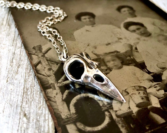 Tiny Talisman Collection - Sterling Silver Raven Skull Necklace Pendant 22x10mm  / Curated  Collection