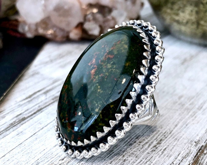 Size 8 Bloodstone Statement Ring Set in Sterling Silver / Curated by FOXLARK Collection
