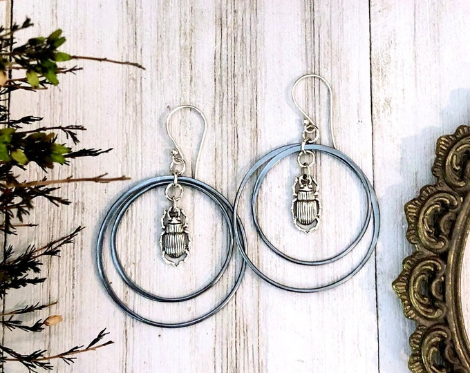 Long Geometric Beetle Earrings in Solid Sterling Silver with Blackened Silver Hoops & Sterling Silver Earwires