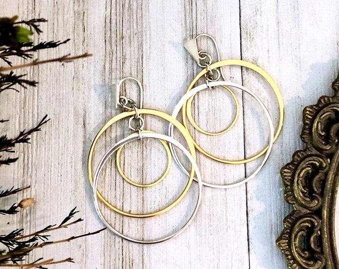 Sterling Silver Long Dangly Geometric Triangle and Circle Earrings with 24Ct Gold Hoops & Sterling Silver Ear Wires