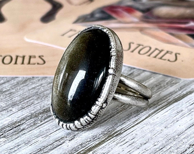 Size 10 Golden Sheen Obsidian Statement Ring in Fine Silver /  Foxlark Collection - One of a Kind