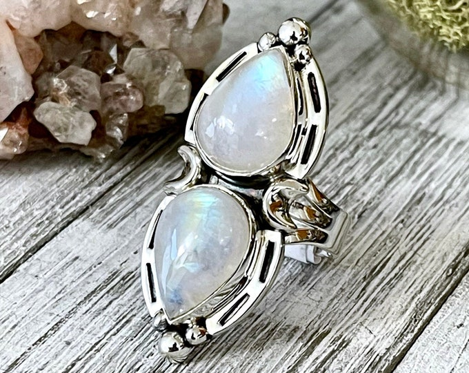 Mystic Moons Rainbow Moonstone Ring in Solid Sterling Silver- Designed by FOXLARK Collection Size 6 7 8 9 10