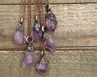 Raw Amethyst Crystal Necklace Small Rough Amethyst Jewelry / Purple Stone Hippie Jewelry Witchy Electroformed Boho Layering Necklace Pendant
