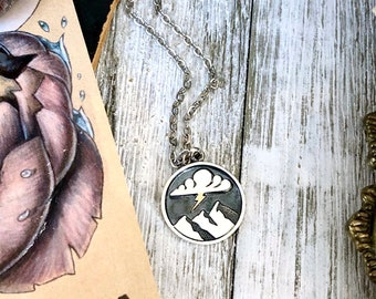Tiny Talisman Collection - Sterling Silver Stormy Days- Lighting and Mountain Necklace 18x16mm  / Curated  Collection