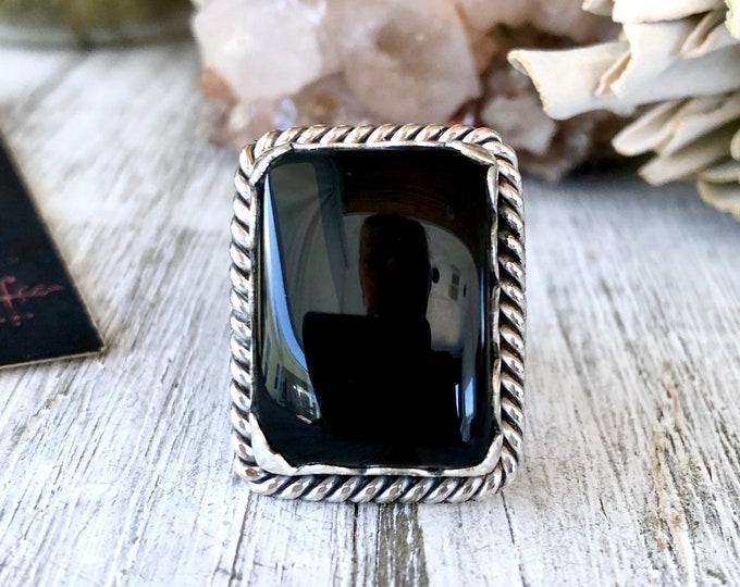 Size 7 Black Onyx Statement Ring Set in Sterling Silver / Curated by FOXLARK Collection