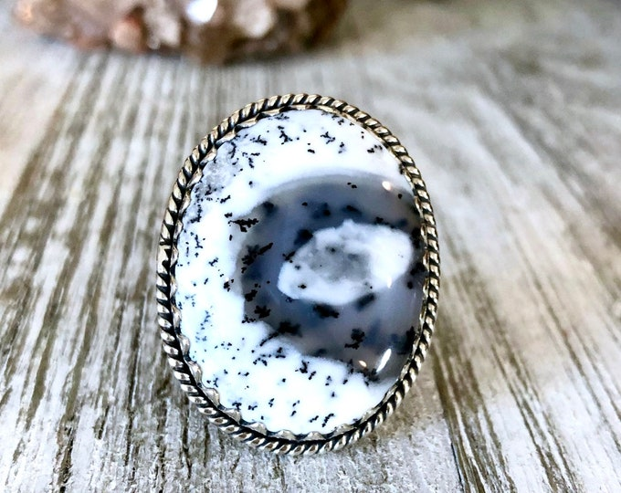 Size 7 Dendritic Opal Statement Ring Set in Sterling Silver / Curated by FOXLARK Collection