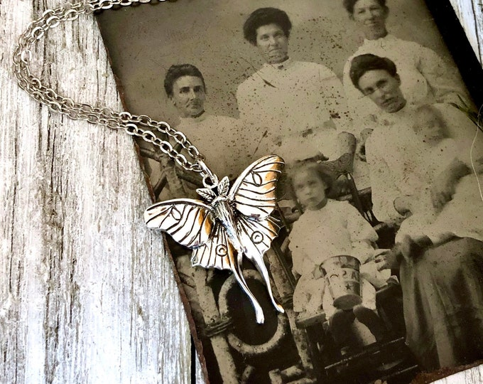 Tiny Talisman Collection - Sterling Silver Luna Moth Necklace Pendant 23x24mm  / Curated  Collection