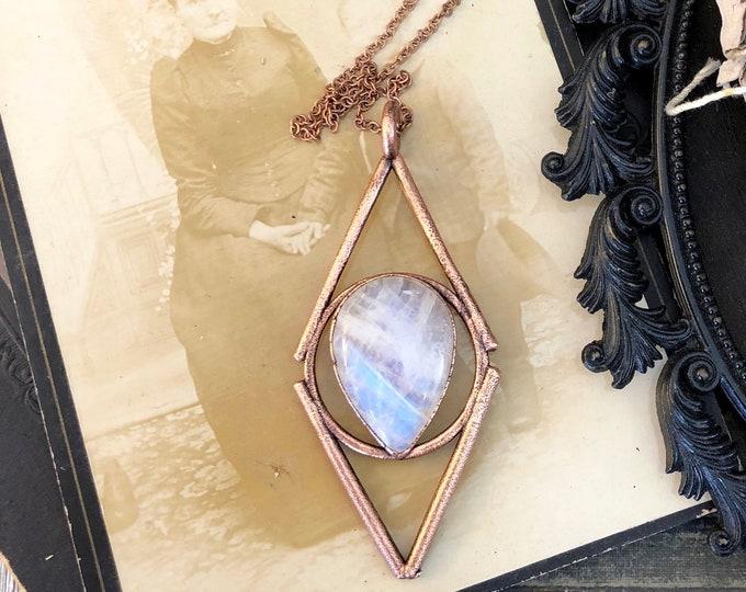 Moonstone Crystal Necklace Pendant / Natural Rainbow Moonstone Statement Jewelry